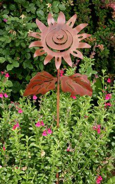 Sunflower Garden Art Plant Stake, Garden Sculpture. $59.00, via Etsy.