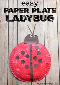 Easy paper plate ladybug. Fun preschool ladybug craft to go along with the Grouchy Ladybug or Ladybug Girl books or bug week theme.