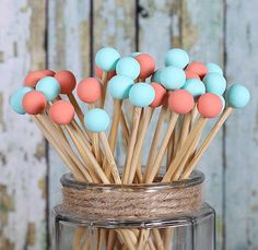 Coral & Aqua Painted Rock Candy Kabob Sticks (12)