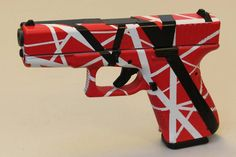"""Fair Warning!"" Red, White and Black striped handgun done using DuraCoat Firearm Finishes www.lauerweaponry.com"