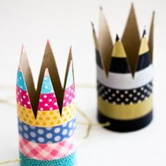 Make these simple party crowns out of toilet paper rolls and washi tape. Perfect for a Birthday Party. Tutorial in English and Swedish.