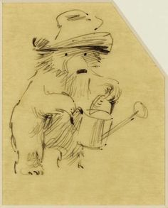Fred Banbery: Paddington with his watering can - preliminary sketch for Paddington's Garden, London, 1972.