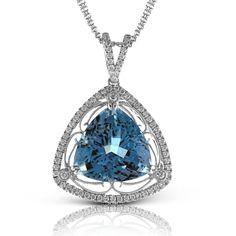 Simon G. Trillion Shaped 9.42 Carat Aquamarine Set in an 18K Filigree Styled Triangular Diamond Pendant Featuring 0.48 Carats White Diamonds. $11,440