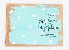 Melissa + Graham's Hand Painted Polka Dot Save the Dates, Design + Photo Credits: Melissa Kelman