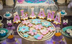 Winter Wonderland birthday party cookies! See more party planning ideas at CatchMyParty.com!