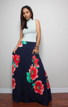 Maxi Skirt   Long Navy Blue Skirt with Floral Print  by Nuichan, $52.00