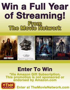 """Win a """"Free Year of Online Streaming"""" of movies on Amazon from The Movie Network. #Giveaway #PinItToWinIt #Movies"""
