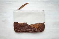 Genuine Leather Canvas Clutch Purse Bag Brown autumn Chocolate Bohemian style Ready To Ship on Etsy, $40.00