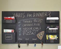 Love the chalkboard/mail combo-- would be great in the front entryway!