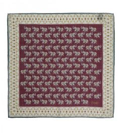 Drakes - Wine Indian Elephant Parade Print Wool and Silk Pocket Square