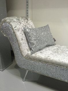 stunning double ended shinny chaise lounge / bedroom seat   The Glitter Furniture Company®