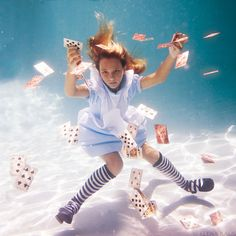 photographer:Elena Kalis  title: Alice in Waterland and Looking Glass  underwater photos
