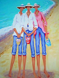 "COASTAL ART: Original Art by REBECCA KORPITA, an artist from the Mississippi Gulf Coast, She is influenced by the coastal area in which she lives and the southern culture and characters that she grew up with. She writes that she loves to ''paint women and their friends at the beach and people just having fun and celebrating life in general.'' ~ Seen here:  ""The Treasure Hunters""  / http://www.korpita.com/"