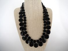 Black Onyx Coin Shaped Stones with Silver Spacers  Double Strand Necklace Gift Fashion under 40. $35.00, via Etsy.