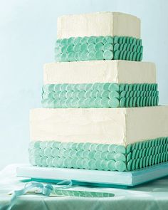 cake decorated with Necco wafers in sea glass colors. looks like mermaid scales ^_^ Mint Wedding Cake, Wedding Mint Green, Wedding Colors, Wedding Cakes, Pretty Cakes, Beautiful Cakes, Amazing Cakes, Necco Wafers, Martha Stewart Weddings