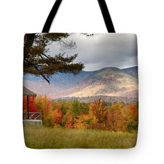 """Sandwich mountain range Tote Bag 18"""" x 18"""" by Jeff Folger  This would probably be one of my favorite spots to sit and watch the New England fall foliage develop, peak and fade in a season. The front porch on this rustic cabin"""
