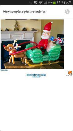 Santa sleigh balloons Balloon Ideas, Balloon Decorations, Christmas Decorations, Holiday Decor, Christmas Balloons, Christmas Candy, Balloons And More, Santa Sleigh, North Pole
