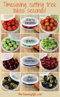 How to Cut Cherry Tomatoes, Grapes, Olives, & Cherries in seconds. All you need are two plastic lids and a knife. From TheYummyLife.com