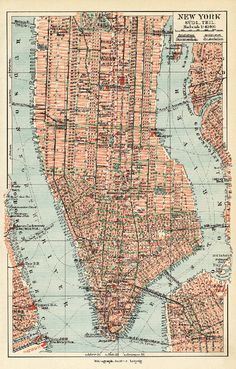 vintage map art of new york city in german and by VintageWorldMaps
