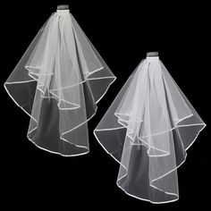 Sale 24% (5.98$) - 2 Layers Bride White Beige Wedding Bridal Elbow Hemmed Satin Edge Veil With Comb