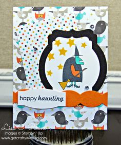 Get Crafty with Lisa:  Happy Haunting for CCC15.  This Halloween card features Stampin' Up!'s Freaky Friends Stamp Set, Ghoulish Greetings Stamp Set, and Motley Monsters Designer Series Paper, by Lisa Rhine, www.getcraftywithlisa.com