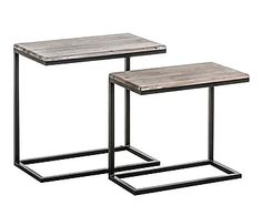 Set de mesas nido en madera de cedro y hierro