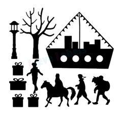 Herbruikbare statische raamstickers - Sinterklaas Preschool Classroom Themes, Silhouette Curio, Free Design, Batman, Superhero, Halloween, Cute, Fictional Characters, Google