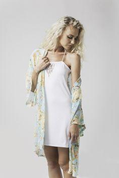 abby printed kimono in mint floral & joanna lace v pj slip in white available now @ marceau.com.au Pyjamas, Summer 2015, Pj, Cold Shoulder Dress, Mint, Slip On, Range, Boho, Printed