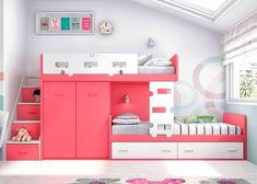 Dream Rooms Bunk Beds - Decoration Home Bed For Girls Room, Girls Bunk Beds, Cool Kids Bedrooms, Kid Beds, Girl Rooms, Cool Beds For Kids, Bed Rooms, Bunk Beds With Stairs, Cool Bunk Beds