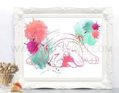 Bulldog Ingles,digital, para imprimir, ilustración de bulldog, dibujo de bulldog,  ilustraciones de animales, acuarela, cuadro, perros