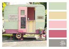 Oh Hello, Love: Color Palette: Love Cupcakes Vintage Campers Trailers, Vintage Caravans, Camper Trailers, Shasta Camper, Airstream, Foodtrucks Ideas, Camping Con Glamour, Pink Curtains, Up House