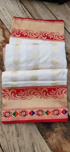Red and white combination perfect for puja