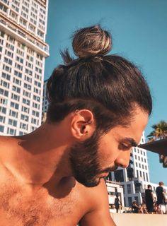 Mens Long Hair Undercut, Man Bun Undercut, Man Bun Haircut, Man Bun Hairstyles, Curly Hair Men, Men Hair Bun, Man Ponytail, Man Bun Styles, Hair And Beard Styles