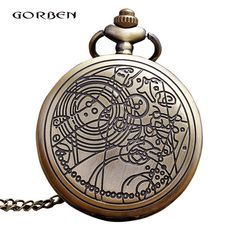 5251885b4a95 Bronze Antique Pocket Watch Doctor Who Hollow Gear Quartz Fob Watches  Necklace - US  2.77