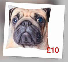 Pug cushion. These irresistible filled cushions will add a touch of fun to the room and offer additional comfort when needed with a soft and velvety feel.  Size L33cm x W33cm.  100% polyester.  Machine washable. To order please contact me :-)