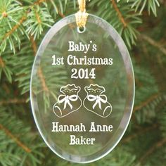 Baby's 1st Christmas Personalized Oval Glass #Christmas Tree Ornaments - Booties. Personalized Baby's 1st Christmas Glass Ornament - Personalized Christmas Ornament. A Baby's 1st Christmas is a wonderful time for the parents, grandparents and of course the newest addition to the family. Celebrate this once-in-a-lifetime event with a beautifully engraved Baby's 1st Christmas Glass Ornament.