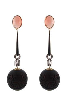 Shop Silvia Furmanovich Peau D'ange Coral and Wooden Fragment Earrings at Moda Operandi