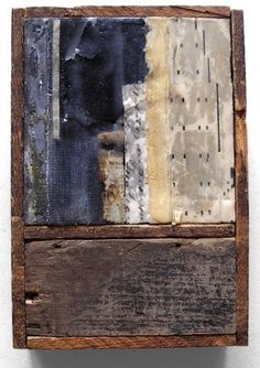 A Long Time Coming by Crystal Neubauer  Collage with Encaustic and Salvaged Wood