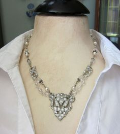Art Deco Upcycled Vintage Necklace  Rhinestones by jryendesigns, $82.00