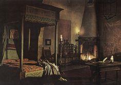 Chintz of Darkness: Greenhouse Effect Slytherin, Hogwarts, Outlander, Medieval Bedroom, Castle Bedroom, Gothic, Greenhouse Effect, Chronicles Of Narnia, Fantasy