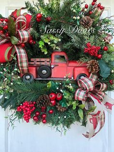 Red Truck WreathChristmas Wreaths Woodland Christmas Wreath