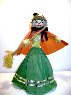 Vintage Handmade Crepe Paper and Pipe Cleaner Witch by junquegypsy, $19.90