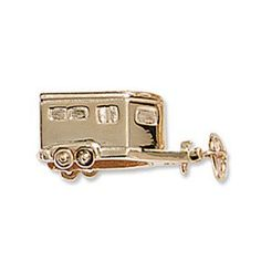 """Ashley's wonderful 14k Solid Gold Horse Trailer Charm is the perfect addition to your charm bracelet. Hand made and hand finished in the USA for superior quality by Ashley's. 3/4""""L x 3/8""""W."""