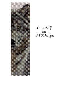 Peyote Stitch Beading Pattern  Lone Wolf Buy 2 by KFSDesigns, $6.50