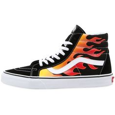 Vans Women Flame Sk8-hi High Top Sneakers ($140) ❤ liked on Polyvore featuring shoes, sneakers, multicolor, vans trainers, vans high tops, high top sneakers, colorful high tops and colorful shoes