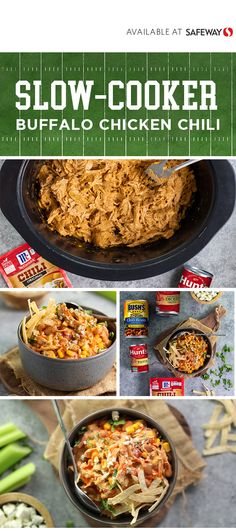 Let's bring the flavor to the big game with this Slow-Cooker Buffalo Chicken Chili recipe! Chili Recipes, Mexican Food Recipes, Crockpot Recipes, Soup Recipes, Gf Recipes, Fall Recipes, Cooker Recipes, Delicious Recipes, Chicken Recipes