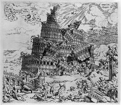 """""""The collapse of the Tower of Babel"""" by Cornelisz Anthonisz, Etching, 1547"""