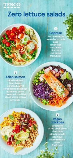 Zero lettuce salads - Zero lettuce salads dascookieX dascookieX Essen :) These hearty salad bowls are packed with tons of flavour and make for a super-satisfying lunch. Try a fresh, colourful Caprese, zingy Asian salmon or spicy vegan chickpea bowl. Veggie Recipes, Vegetarian Recipes, Healthy Recipes, Lunch Salad Recipes, Super Food Recipes, Salmon Salad Recipes, Super Foods, Food Bowl, Salads Without Lettuce