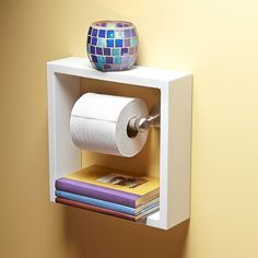 Toilet Paper Shelf - Just buy a shadow box from a craft store and paint! - Great simple idea for some storage in the bathroom! I would install shadow box ABOVE the toilet paper roll Small Space Storage, Extra Storage, Craft Stores, Craft Shop, Shadow Box, Home Organization, Organizing Tips, Organising, Toilet Paper