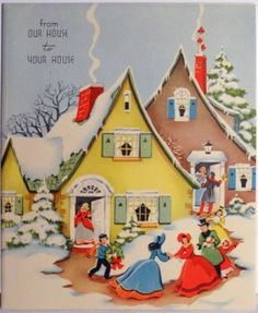 40s Quaint Houses in the Snow-Vintage Christmas Card by cassie